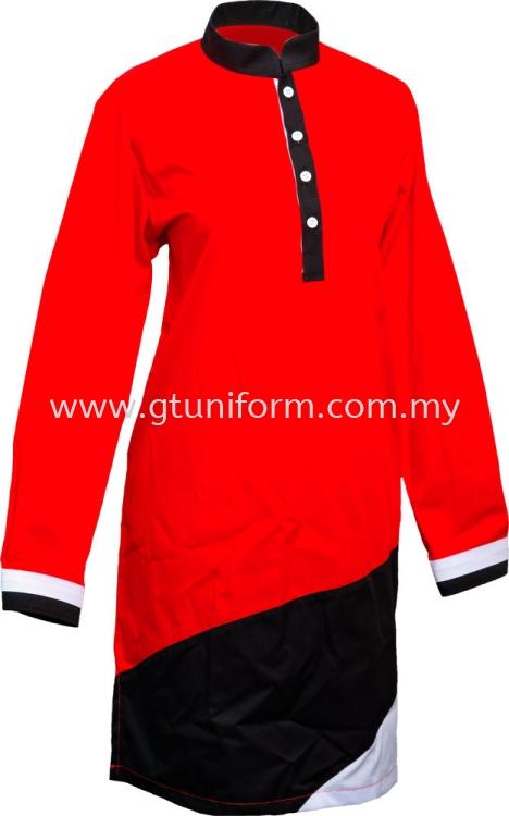 READY MADE UNIFORM MUSLIMAH H0701 (Red & Black & White)
