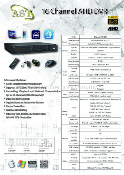 AHD 16 Channel DVR