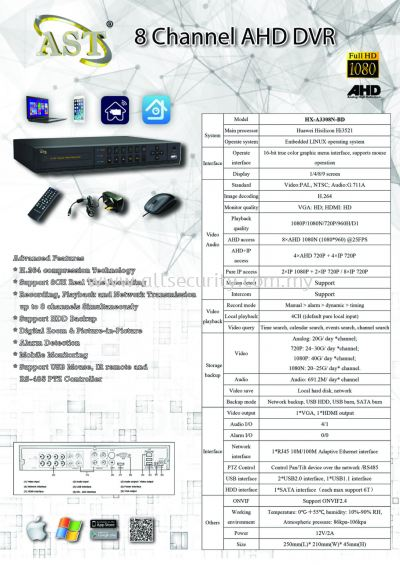 AHD 8 Channel DVR