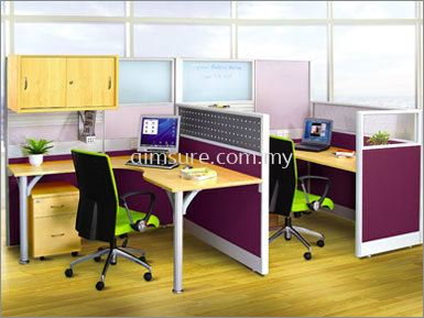 Small Office Workstation for 2 pax with hanging cabinet (AIM60-C2-1-L-CW-BS)