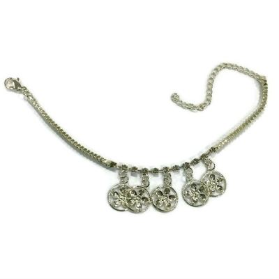 Coins Design Rhinestone Anklet (Silver Plated)