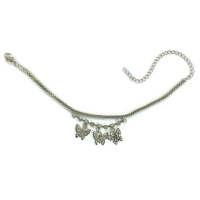 Butterfly Design Rhinestone Anklet (Silver Plated)