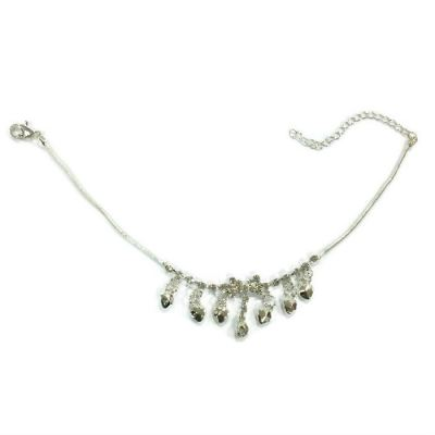 Mix Design Rhinestone Anklet (Silver Plated)