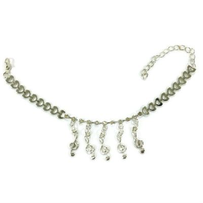 Music Design Rhinestone Anklet (Silver Plated)