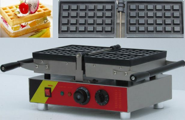 Waffle Two Rectangle Maker Machine Electric