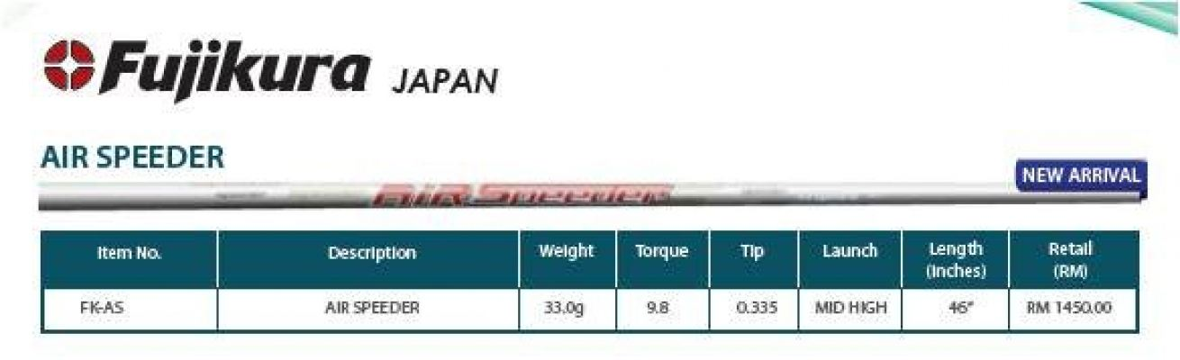 Fujikura Japan Air Speeder Golf Shaft