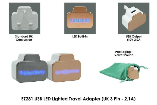 EZ281 USB LED Lighted Travel Adapter (UK 3 Pin - 2.1A)