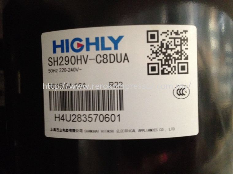 HIGHLY COMPRESSOR MODEL SH290HV-C8DUA