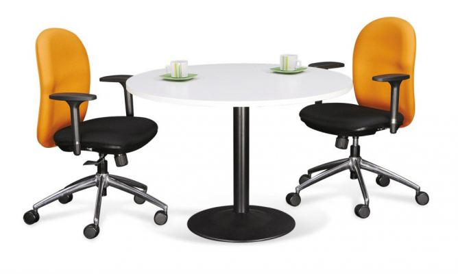 Round Meeting Table with Drum Leg
