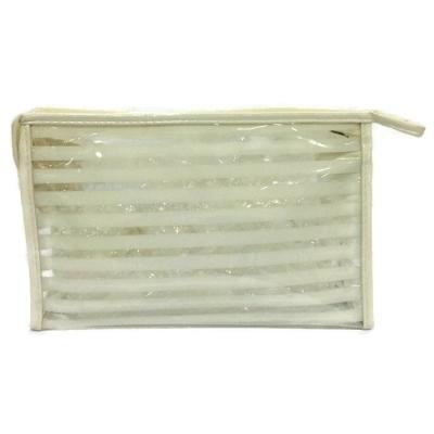 Strips Square Shape Design Makeup Pouch (White Cream)