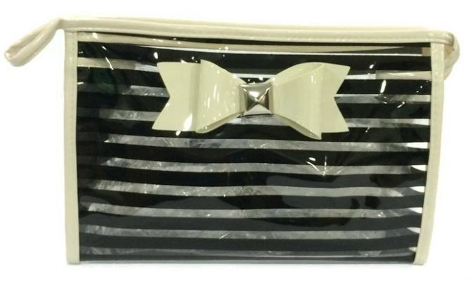 Ribbon See Through Makeup Pouch (Black)