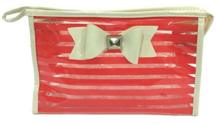 Ribbon See Through Makeup Pouch (Red)