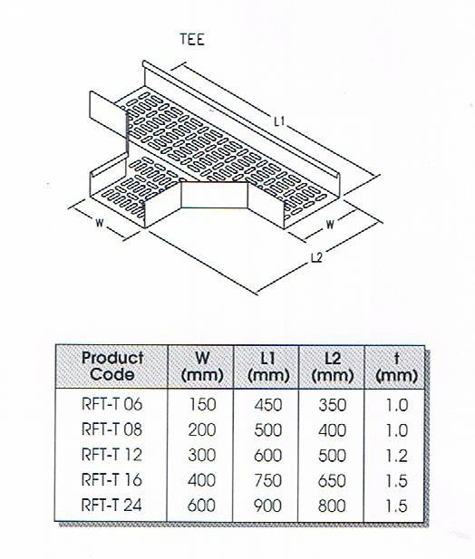 TEE PERFORATED CABLE TRAY FITTING Cable Tray Cable Support Systems