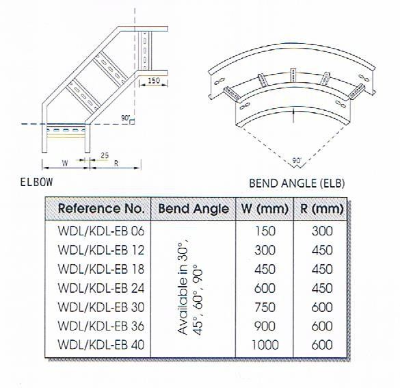 BEND ANGLE (ELBOW) CABLE LADDAR FITTING Cable Ladder Cable Support Systems