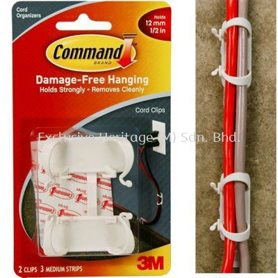 COMMAND LARGE CORD CLIPS, 6PK/BAG
