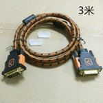 DVI Cable Brown Nylon Sleeve Full Copper 3 meter