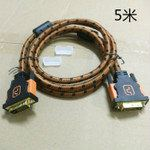 DVI Cable Brown Nylon Sleeve Full Copper 5 meter