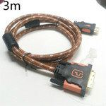 HDMI to DVI Brown Nylon Sleeve Full Copper 3 meter