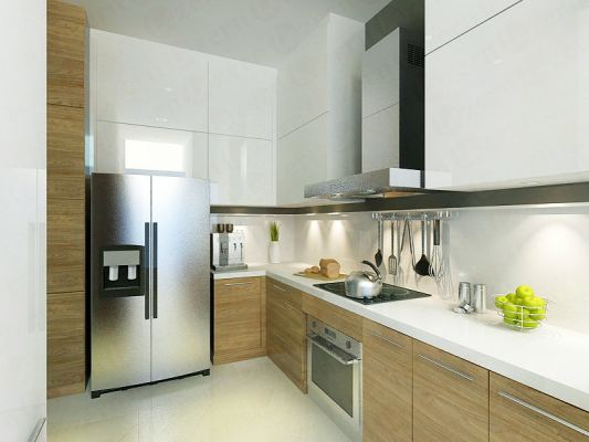 White & wooden combination to bring out fresh looks of kitchen