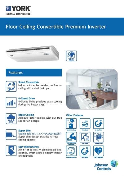 YORK Floor/Ceiling Convertible Premium Inverter [5 Star] (R410A)