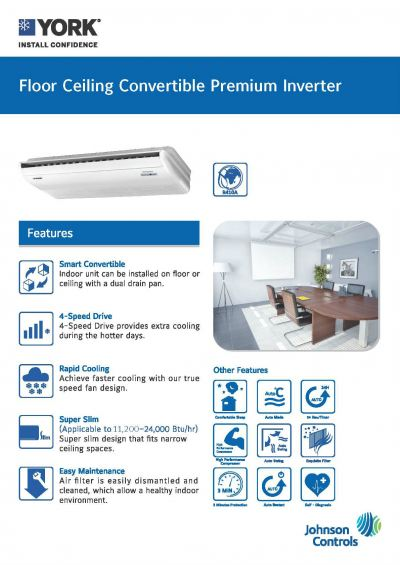 YORK Floor/Ceiling Convertible Premium Inverter [5 Star] (R410A)