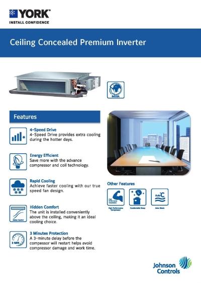 YORK Ceiling Concealed Premium Inverter [5 Star] (R410A)
