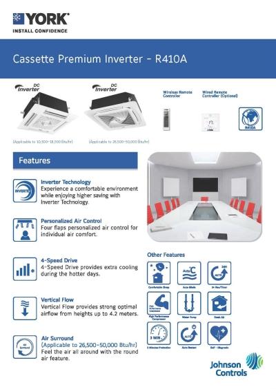 YORK Cassette Premium Inverter [5 Star] (R410A)