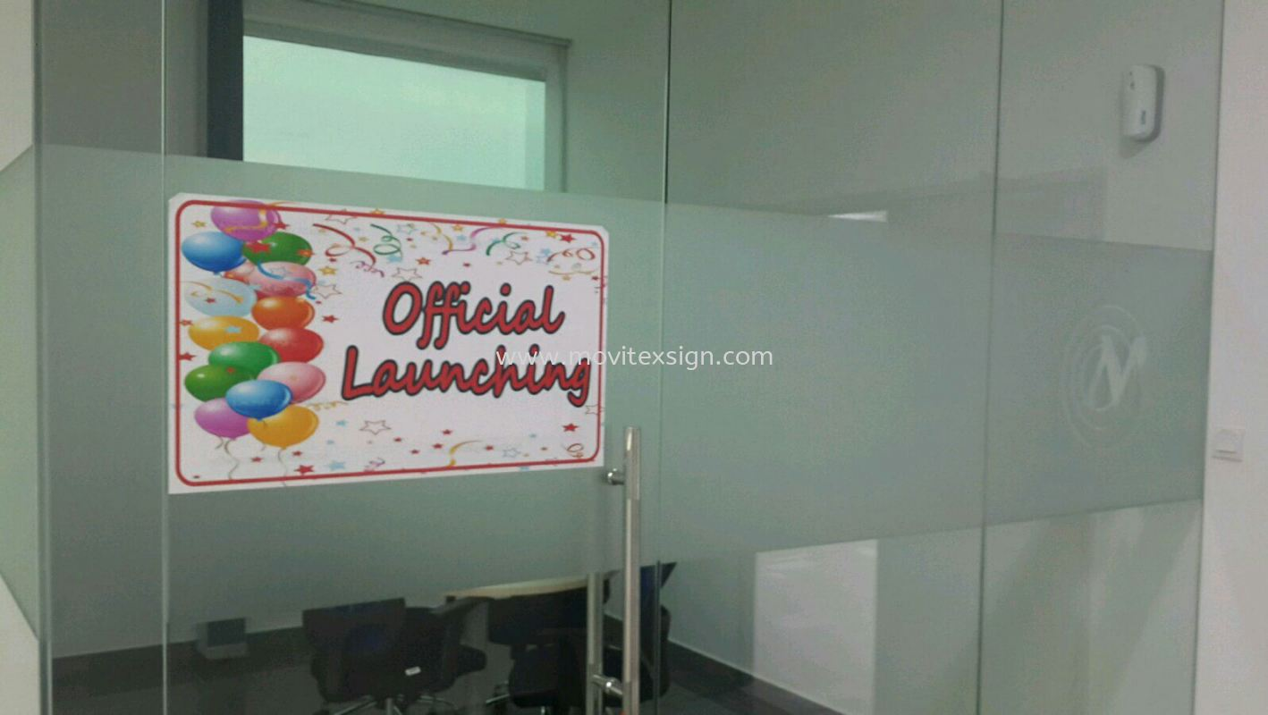tinted sandblasting film for newly official opening celebration (click for more detail) Glass Display Johor Bahru (JB), Johor, Malaysia. Design, Supplier, Manufacturers, Suppliers | M-Movitexsign Advertising Art & Print Sdn Bhd