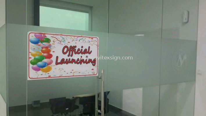 tinted sandblasting film for newly official opening celebration (click for more detail)