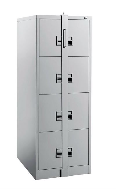4 Drawer Steel Filing Cabinet C/W Locking Bar