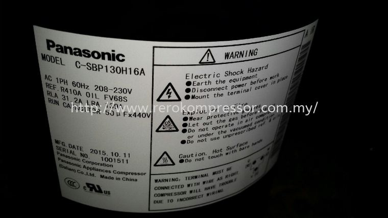 PANASONIC SCROLL COMPRESSOR MODEL C-SBP130H16A