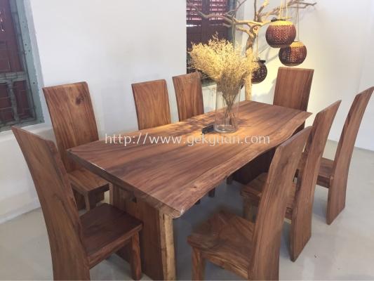 001 - Wooden Dining Set 1 + 8