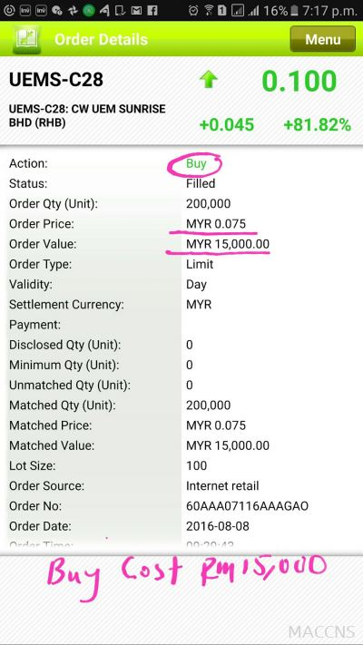 Testimonials =Only 1 day - gain Rm9k + , averange buy  price 0.077 - sold 0.11 Date : 8/8/16