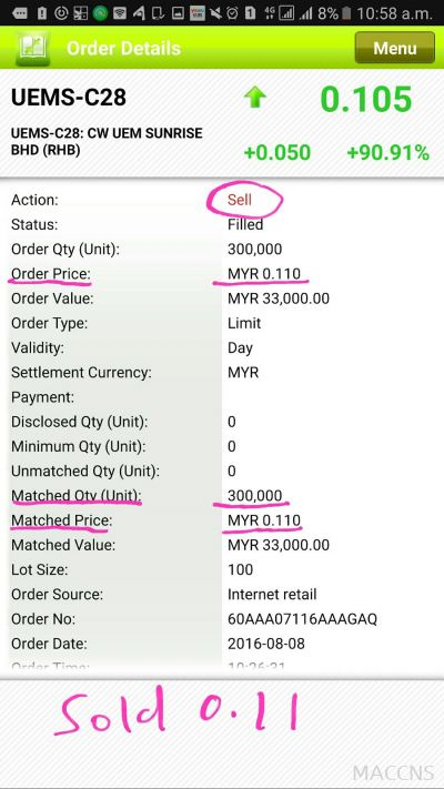 Testimonials student =Only 1 day - gain Rm9k + , averange buy price 0.077 - sold 0.11 Date : 8/8/16
