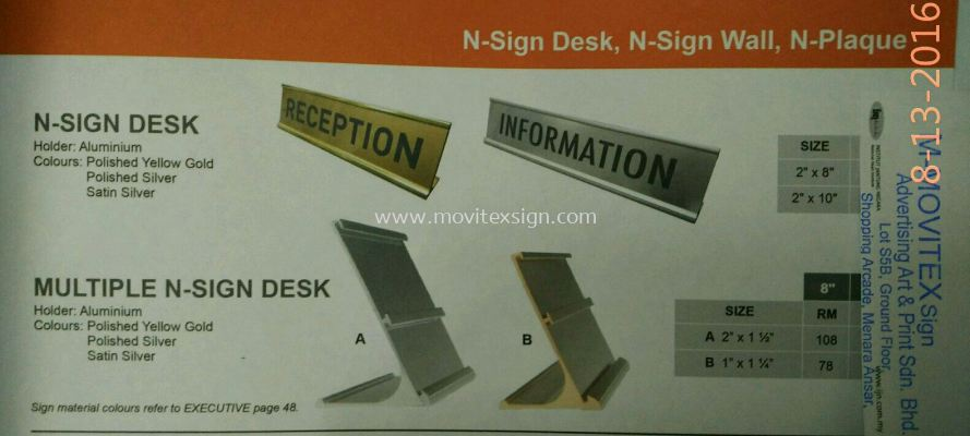 door sign /gold /silver /double plate single aluminum holder