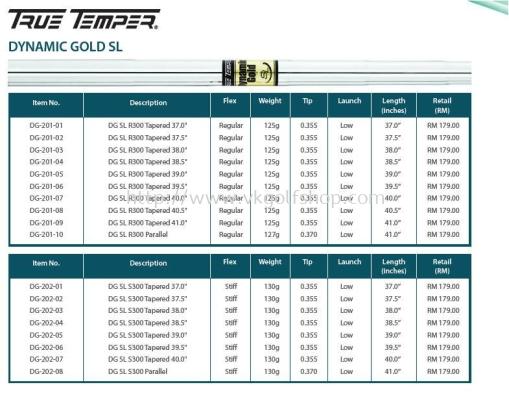 True Temper Dynamic Gold SL Golf Shafts