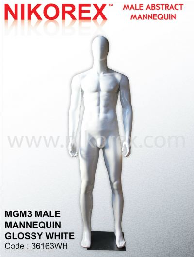 36163WH-MGM3 MALE MANNEQUIN GLOSSY WHITE