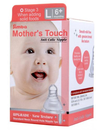 SIMBA Mother's touch standard neck round hole anti-colic nipple L - 1pc