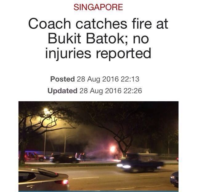 COACH CATCHES FIRE AT BUKIT BATOK (28/8/16)