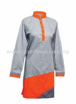 READY MADE UNIFORM MUSLIMAH H0715 ( GREY & ORANGE & D.GREY)
