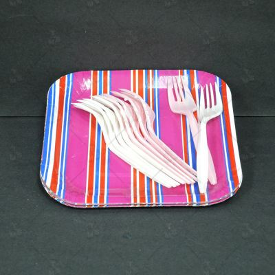 "7"" Square Paper Plate with Fork 10pcs (P-7SPF)"