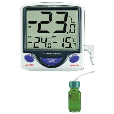 Digi-Sense Calibrated Jumbo Fridge/Freezer Digital Thermometer, bottle probe