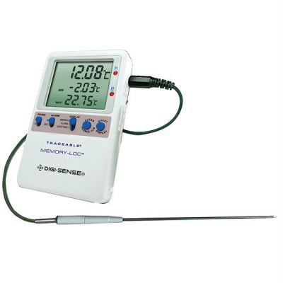 Digi-Sense Calibrated Data Logging Thermometer, Memory-Loc, 1 SS handle probe