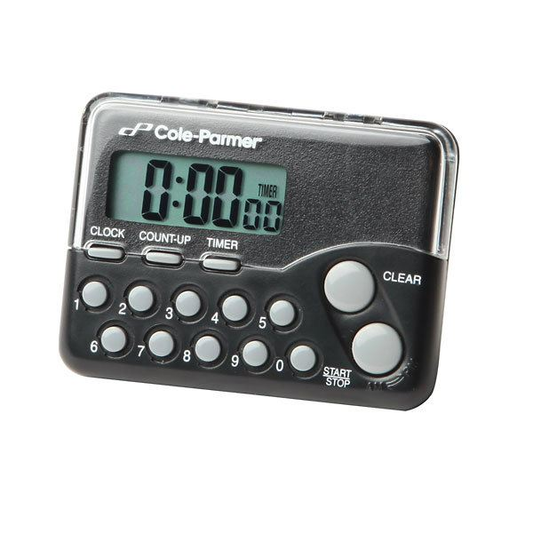 Push-button clock/timer with back clip and magnet Timers Cole-Parmer