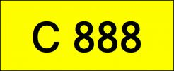 Number Plate C888 Rare Classic Plate