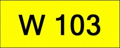 Number Plate W103 Rare Classic Plate