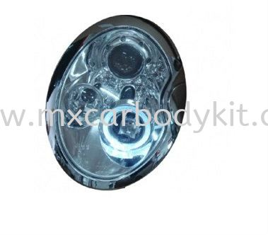 MINI COOPER 2002 & ABOVE HEAD LAMP CRYSTAL CHROME W/PROJECTOR + RIM HEAD LAMP ACCESSORIES AND AUTO PARTS