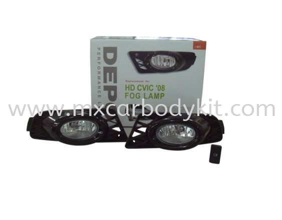 HONDA CIVIC FD 2008 FOG LAMP CRYSTAL W/WIRING + SWITCH FOG LAMP ACCESSORIES AND AUTO PARTS