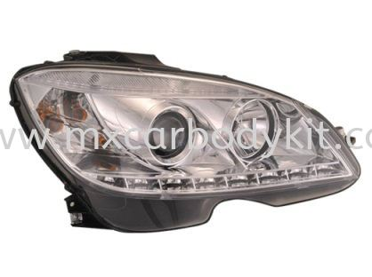 MERCEDES BENZ W204 2007 HEAD LAMP PROJECTOR  CHROME W/REAL DRL + MOTOR HEAD LAMP ACCESSORIES AND AUTO PARTS