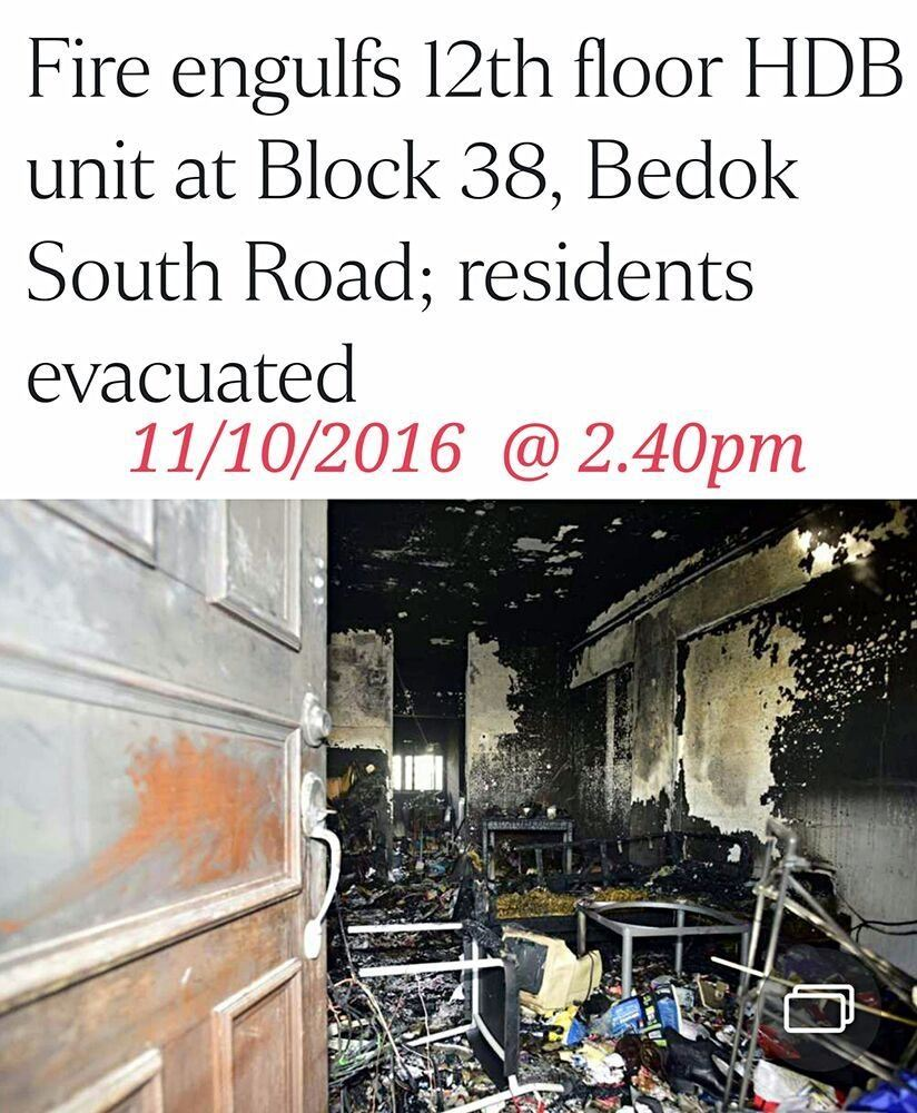 BEDOK SOUTH FLAT DESTROYED IN FIRE (11/10/16)